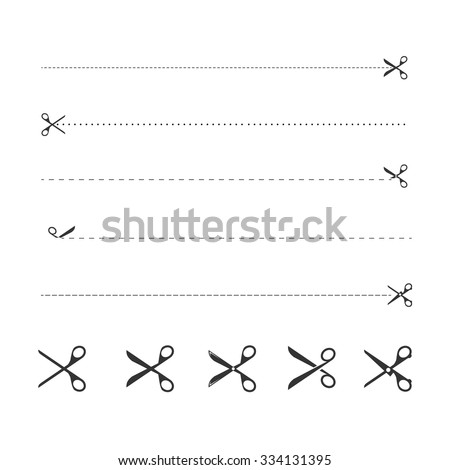 Scissors with cut lines icons set vector design - stock vector