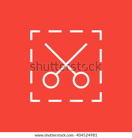 Scissors with dotted lines line icon. - stock vector