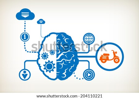 Scooter and abstract human brain, the concept of the information movement - stock vector