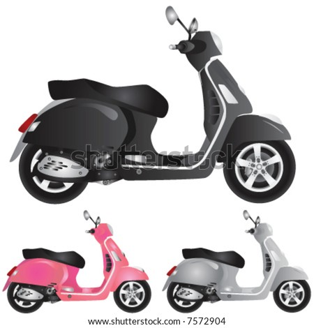 scooter detail illustration - stock vector