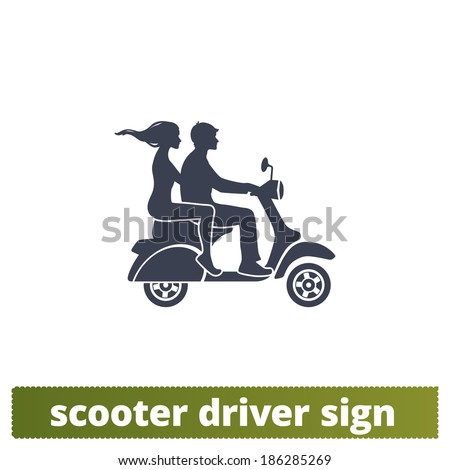 Scooter icon: couple vector sign. - stock vector
