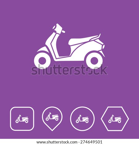 Scooter Icon on Flat UI Colors with Different Shapes. Eps-10. - stock vector