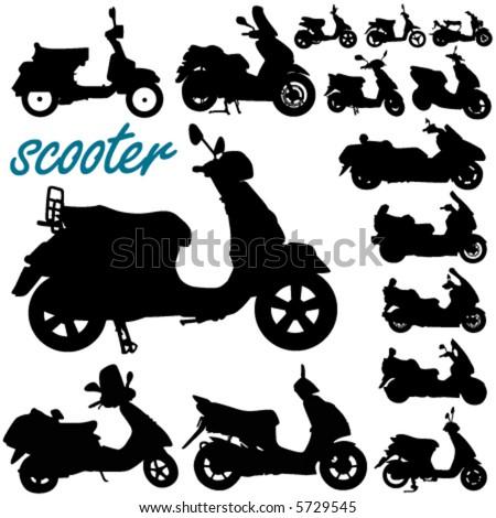 scooter motorcycle vector - stock vector