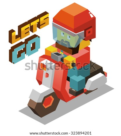 Scooter Retro Motor. Isometric vector illustration - stock vector