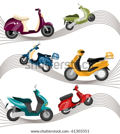 scooter set - stock vector