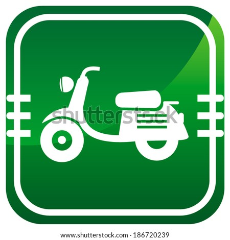 Scooter. Single green icon. - stock vector
