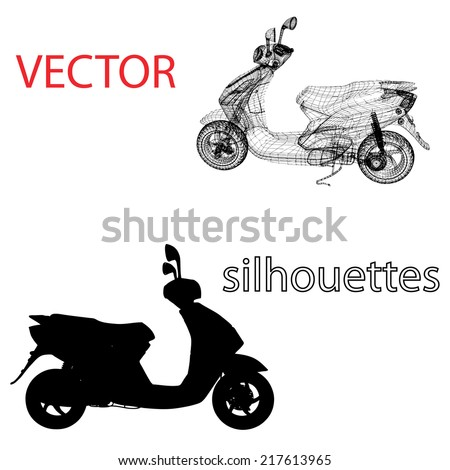 Scooter vector silhouettes - stock vector