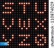 Scoreboard lamp alphabet set, part three. Vector Eps10 illustration. - stock vector
