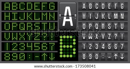 Scoreboard mechanical and electronic panel letters alphabet  - stock vector
