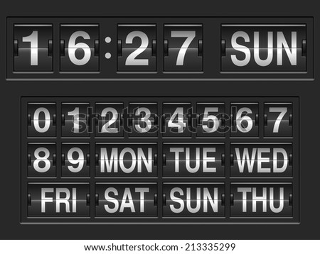 Scoreboard numbers and days of the week. - stock vector