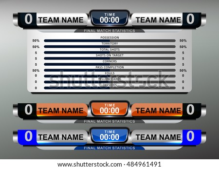 Scoreboard Broadcast Graphic Soccer Football Vector Stock Vector