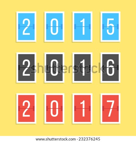 scoreboard year numbers isolated on yellow background. concept of number counter template for 2015-2017 countdown. flat style modern trendy design vector illustration - stock vector