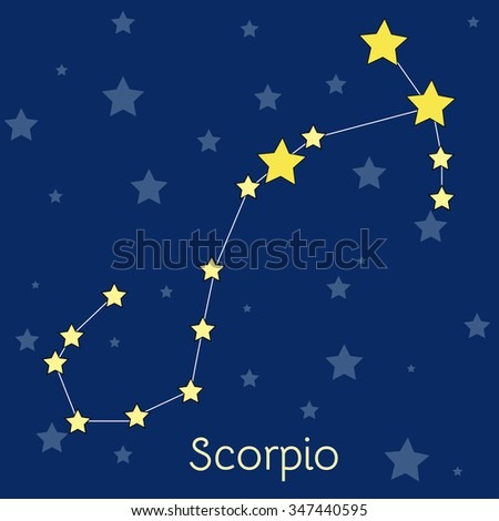 Scorpio Water Zodiac  constellation with stars in cosmos. Vector image with navy blue background and stars - stock vector