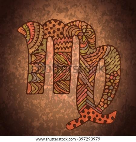 Scorpio zodiac sign. Zodiac zentangle sign. Zodiac symbol. Zentangle doodle zodiac. Zentangle style vector. Zodiac symbol. Scorpio horoscope. Scorpio zodiac grunge banner. - stock vector
