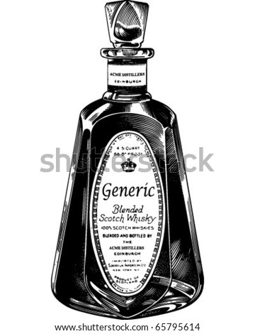 Scotch Whiskey Bottle - Retro Clipart Illustration - stock vector