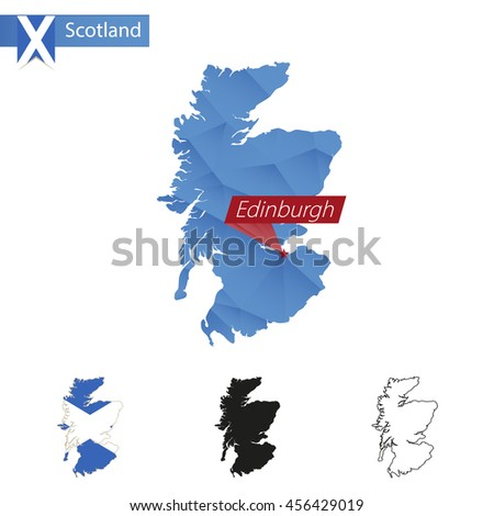 Scotland blue Low Poly map with capital Edinburgh, versions with flag, black and outline. Vector Illustration. - stock vector