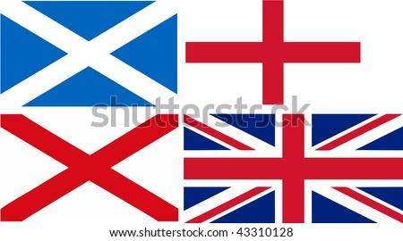 Scotland + England + Ireland = Union Jack flag (isolated vector illustration) - stock vector