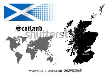 Scotland info graphic with flag , location in world map, Map and the capital ,Edinburgh, location.(EPS10 Separate part by part) - stock vector