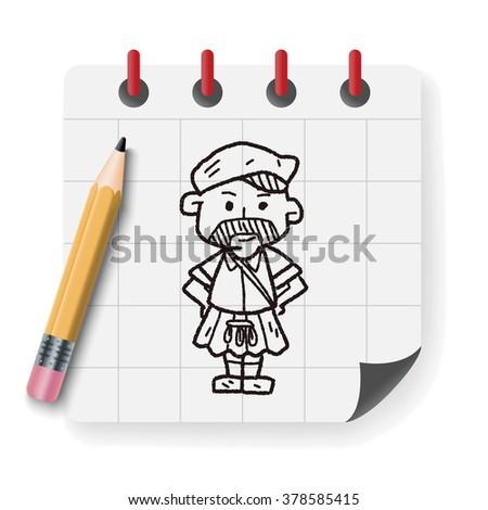 scotland man doodle - stock vector