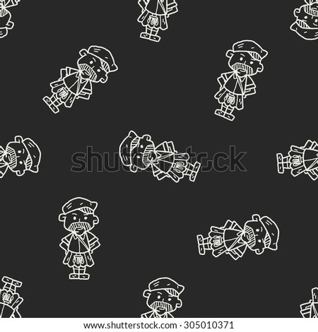 scotland man doodle seamless pattern background - stock vector