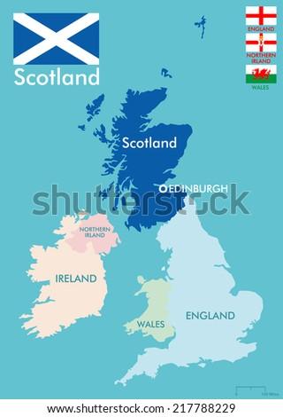 Scotland map - stock vector