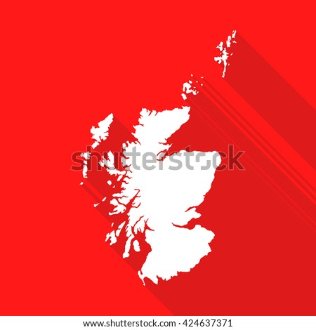 Scotland map flat simple style with long shadow. - stock vector