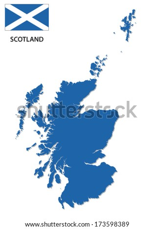 Scotland map with flag - stock vector