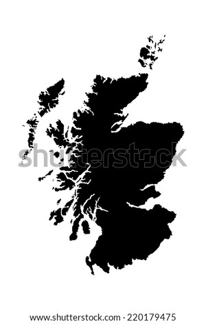 Scotland vector map isolated on white background. High detailed silhouette illustration. - stock vector
