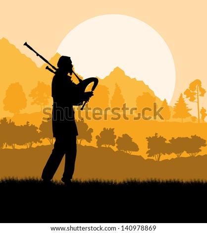 Scottish bagpiper silhouette landscape vector background - stock vector