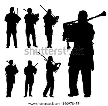 Scottish bagpiper silhouette vector background set - stock vector