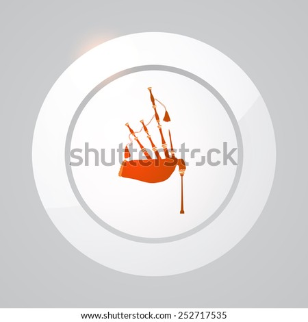 Scottish Bagpipes on Light Background, Vector Illustration - stock vector