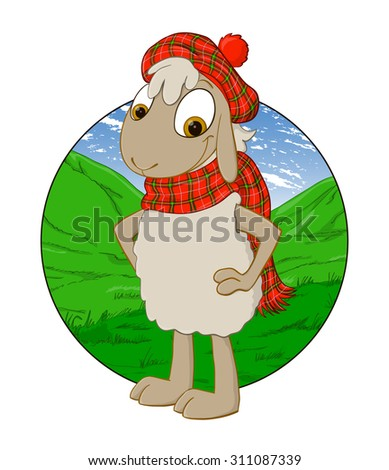 Scottish sheep in a plaid dress on a background of undulating pastures