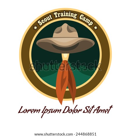 Scout camp colorful badge or logo. Drawn without meshes or gradients. Only free fonts used. - stock vector