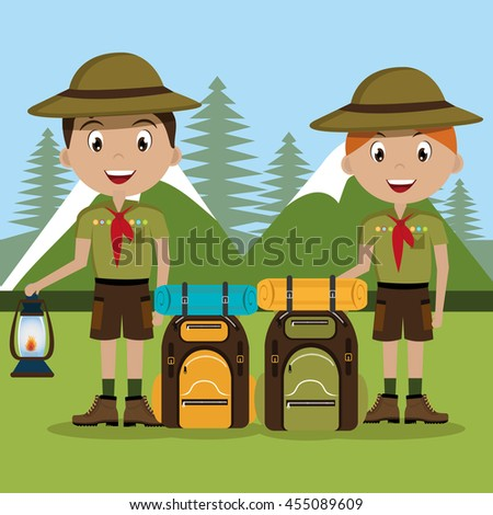 scout character with travel bag isolated icon design, vector illustration  graphic  - stock vector