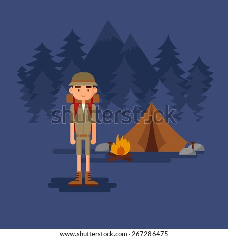 Scout in the woods. - stock vector