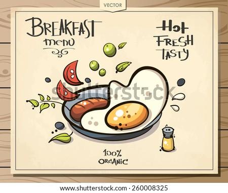 scrambled eggs. breakfast menu. sketch art for your design - stock vector