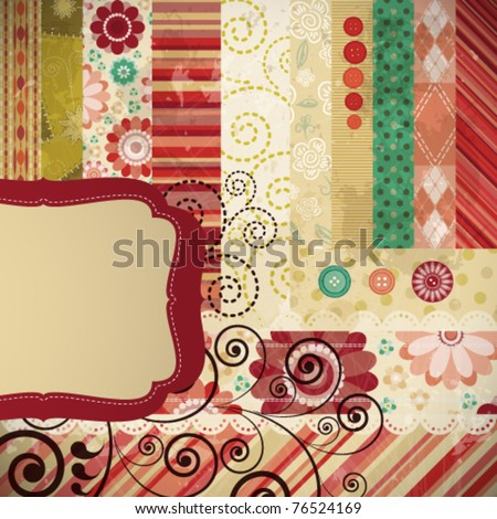 Scrap background made in the classic patchwork technique with floral stamps. - stock vector