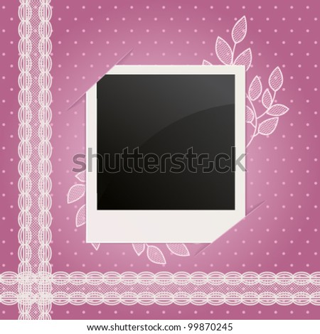 scrap background with photo frame and floral lace