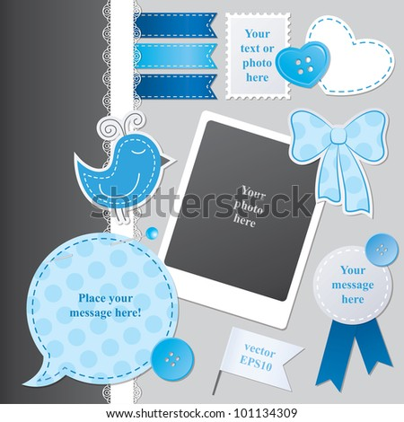 scrap-booking set with speech bubble, stickers, photo frame and sewing buttons - stock vector
