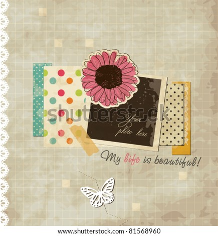 Scrap holiday template of vintage worn distressed design - stock vector