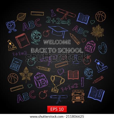 Scrap set Back to school on blackboard,with:hat graduate, scroll, apple, books, flasks, basketball, alarm clock, briefcase, backpack, school bus, globe, ruler ,microscope - stock vector