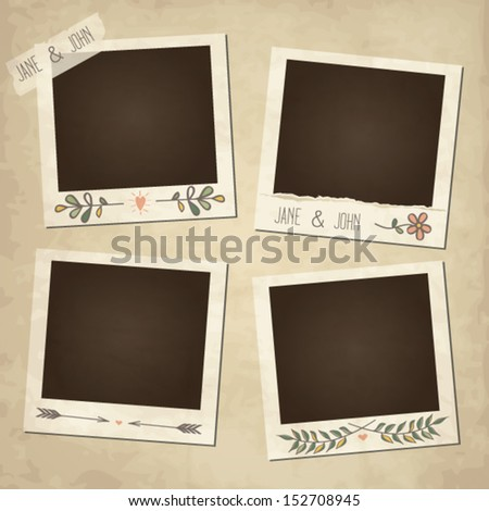 Scrap set of cute vector retro floral photo frames - stock vector