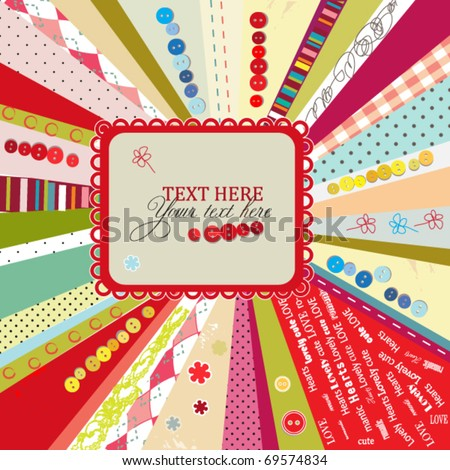 Scrap template design with blank space for your text, vector colorful card - stock vector