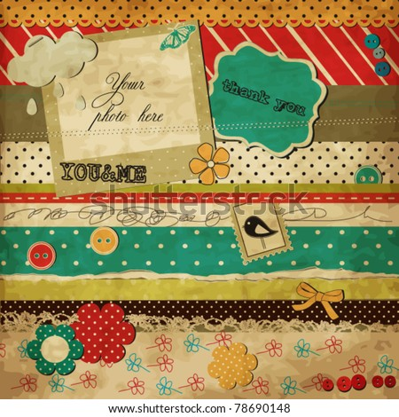 Scrap template of vintage worn distressed design with blank space for your photo and text - stock vector
