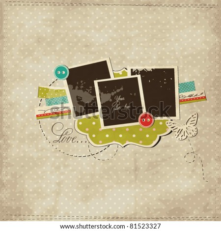 Scrap template with blank space for your photos or text - stock vector
