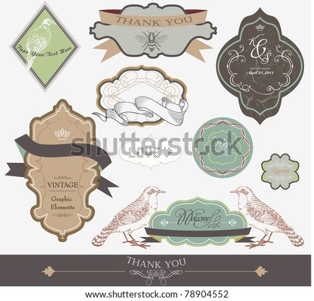 scrapbook and wedding invitation card label series - stock vector