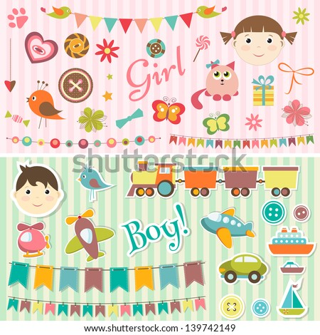 Scrapbook baby boy and girl set - stock vector