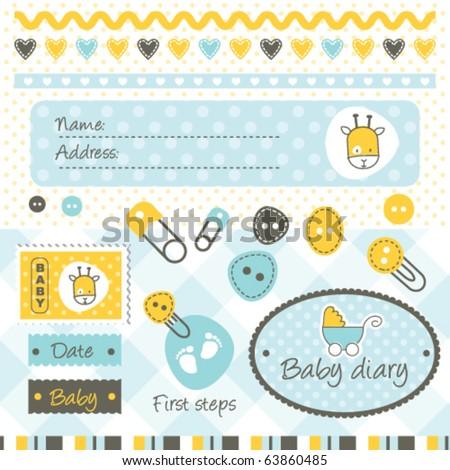 scrapbook baby boy design elements  greeting card, invitation, scrapbook  - stock vector