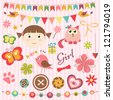 Scrapbook baby girl set - stock photo