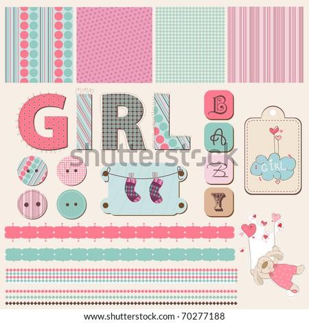 Scrapbook Baby Girl Set - stock vector